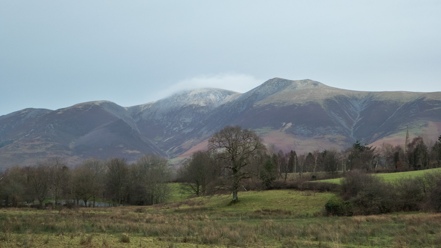 The Skiddaw fells with a hint of snow