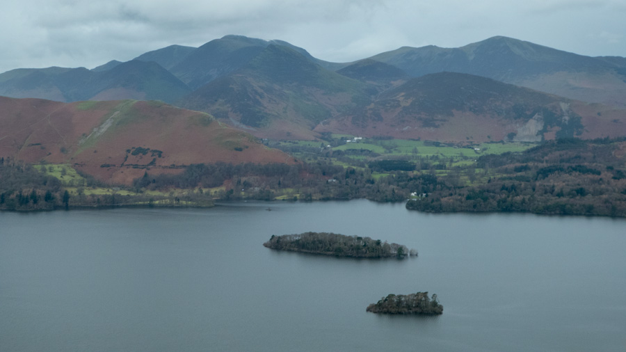 Looking over Derwent Water to the north western fells