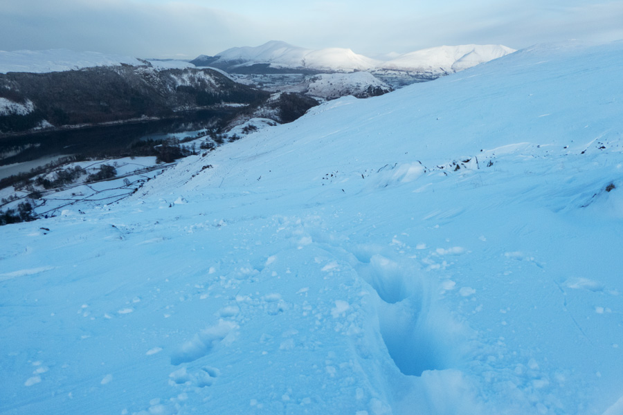 Looking towards Skiddaw as I head up, deep snow drifts in places