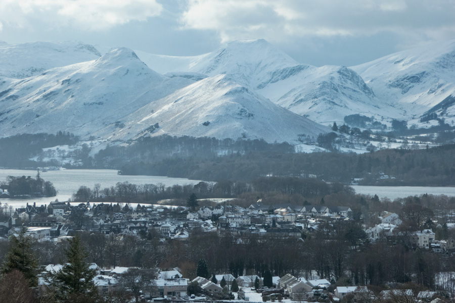 Zooming in on Catbells over Keswick