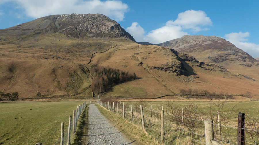 High Crag and High Stile from the track to Peggy's Bridge