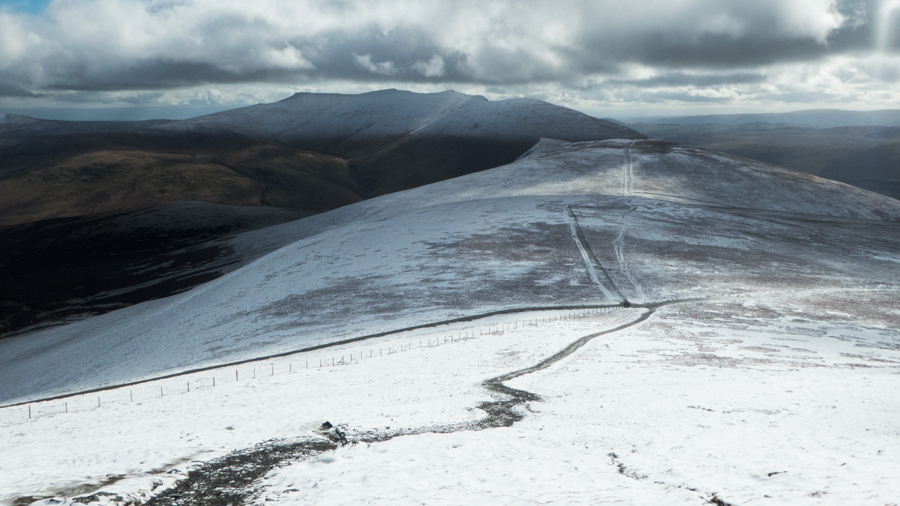 Lonscale Fell with Blencathra behind as I head up Lesser Man
