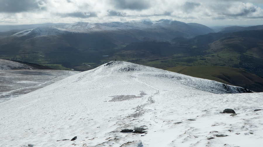 Looking over Lesser Man to the Helvellyn fells