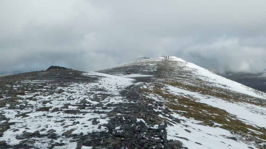 Skiddaw's summit ridge, looking north to the summit in the far distance
