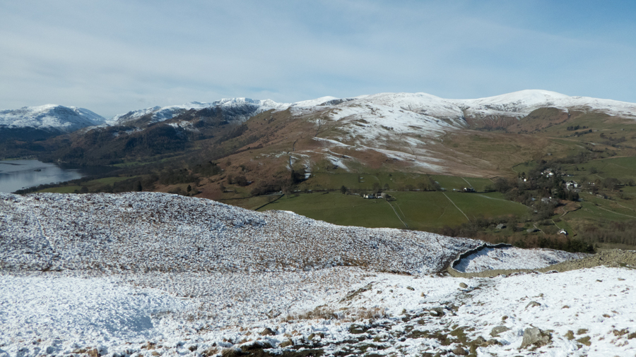 The view south as I head up by the wall to Gowbarrow Fell's summit