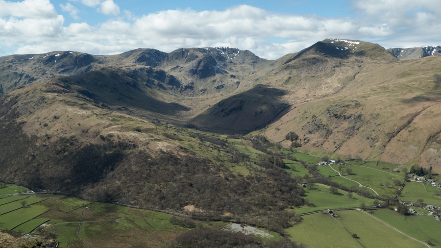 Looking across to Fairfield at the head of Deepdale with St Sunday Crag on the right