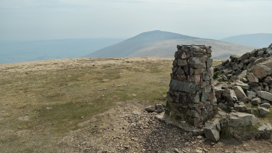 Carrock Fell from High Pike's summit, the seat (occupied) is out of shot on the right