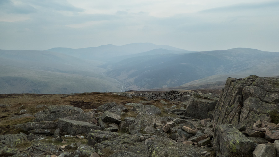 Upper Mosedale with the Skiddaw fells in the distance