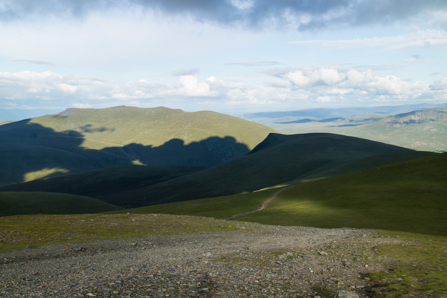 Blencathra in sun and Lonscale Fell in shadow