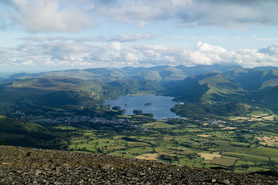 The view south over Keswick and Derwent Water to the high fells