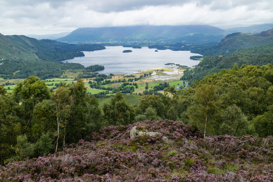 Derwent Water to the north with the top of the Skiddaw fells in the cloud