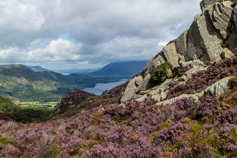 A glimpse of Derwent Water and Bassenthwaite Lake with Catbells on the far left