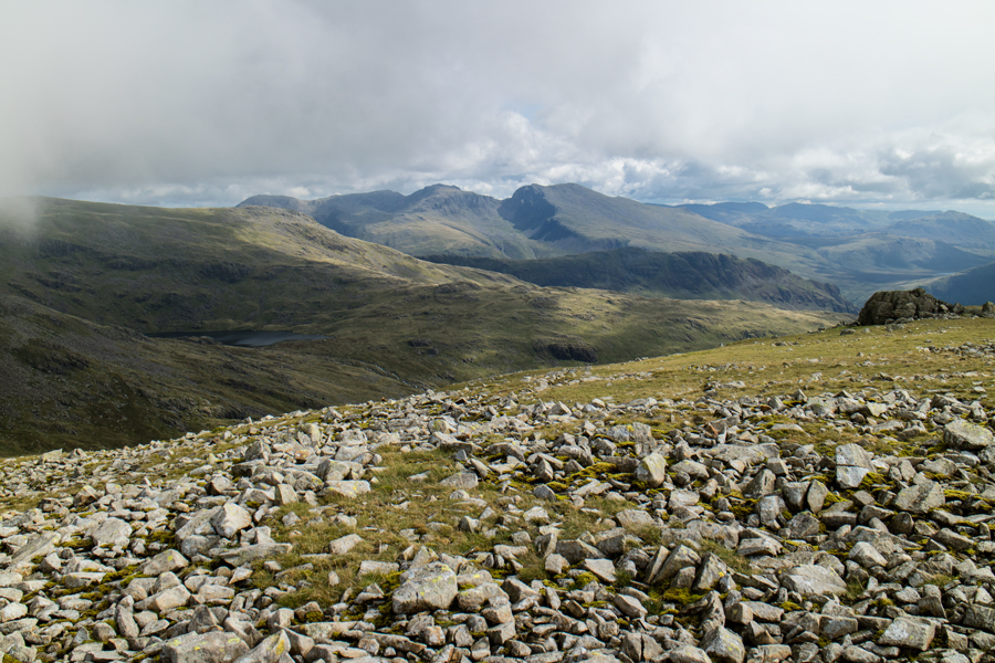 The Scafells and a glimpse of Scoat Tarn on the left