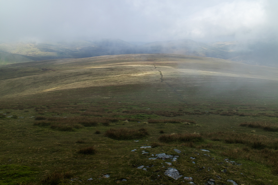 Dropping out of the cloud, Mungrisdale Common ahead