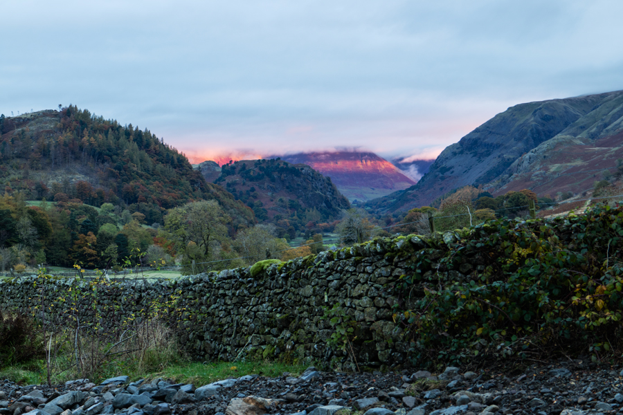 Sunrise and the light catches Blencathra