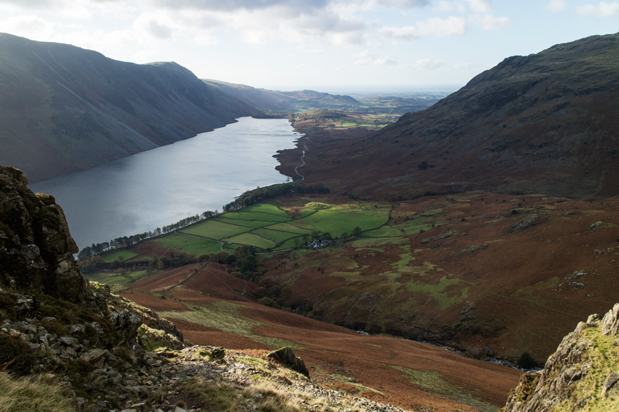 Gaining height and the views over Wastwater to the southwest open up
