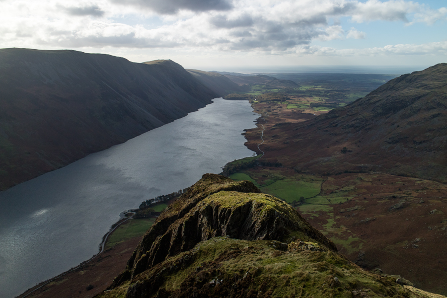 Wastwater from high up on Yewbarrow's south ridge