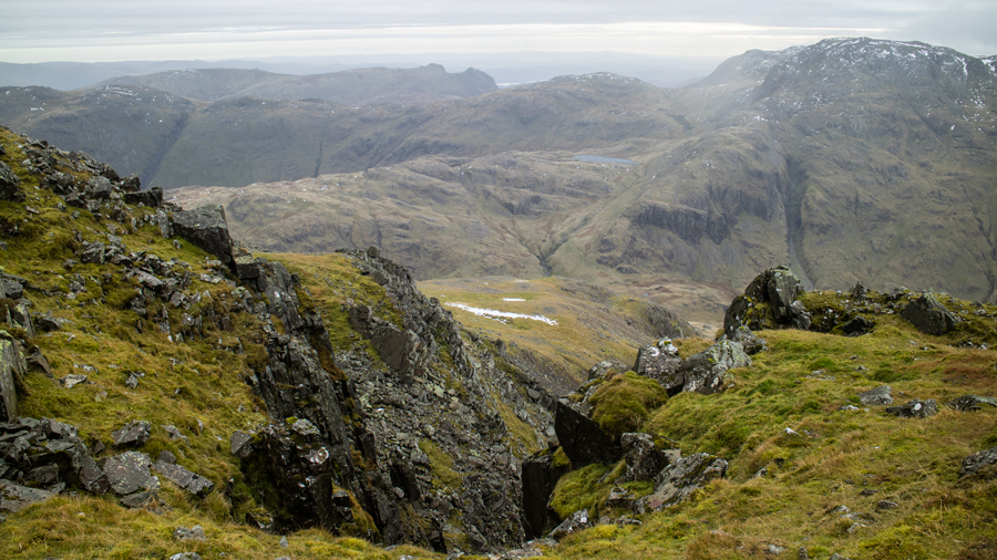 The Langdale Pikes from near the Westmorland Cairn