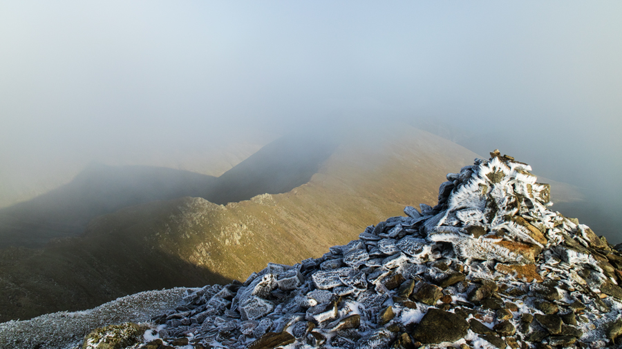 Helvellyn's summit cairn and a bit of Catstycam