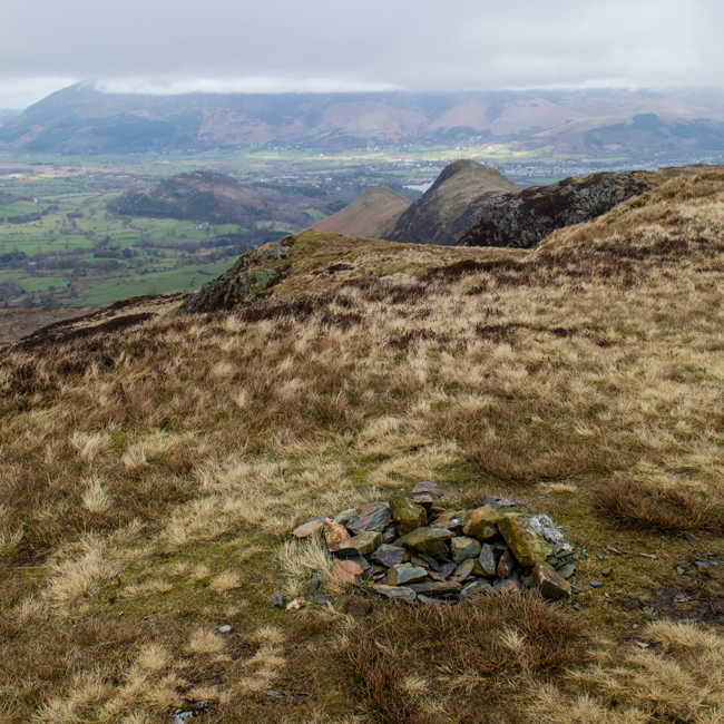 Looking back to Catbells from Maiden Moor's summit cairn
