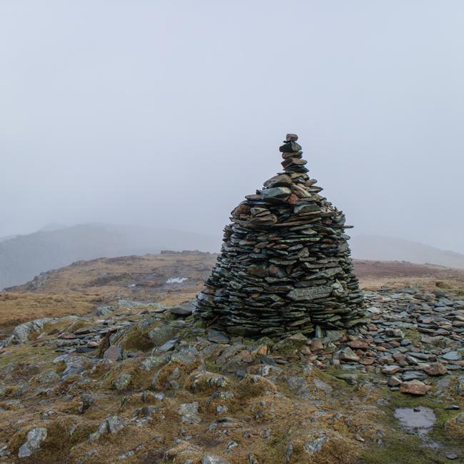 High Spy's impressive summit cairn
