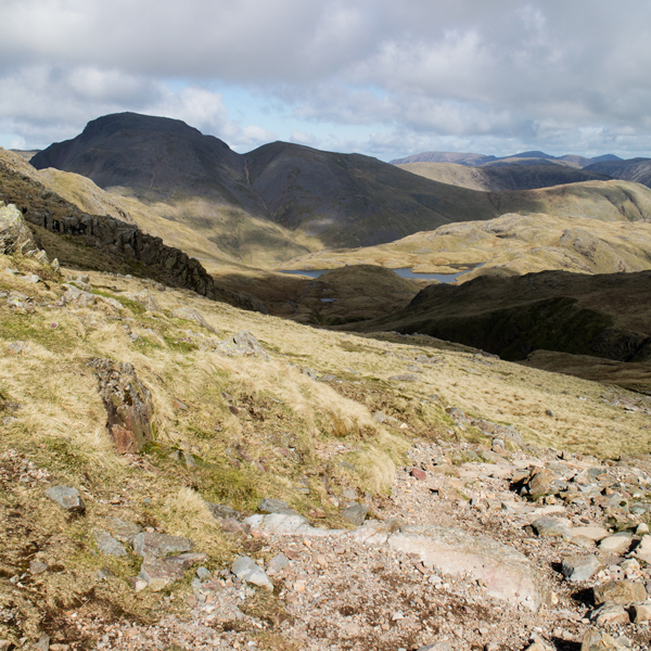 Great Gable and a glimpse of Sprinkling Tarn from the path to Esk Hause