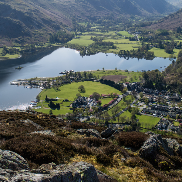 Looking down on the head of Ullswater and the village of Glenridding from Glenridding Dodd