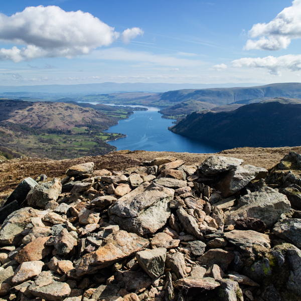 Ullswater from a sad looking Sheffield Pike summit cairn