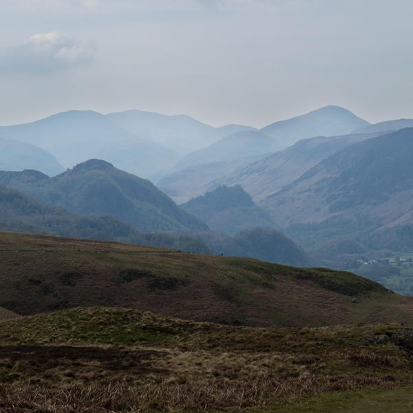 Scafell Pike and Great Gable on the skyline
