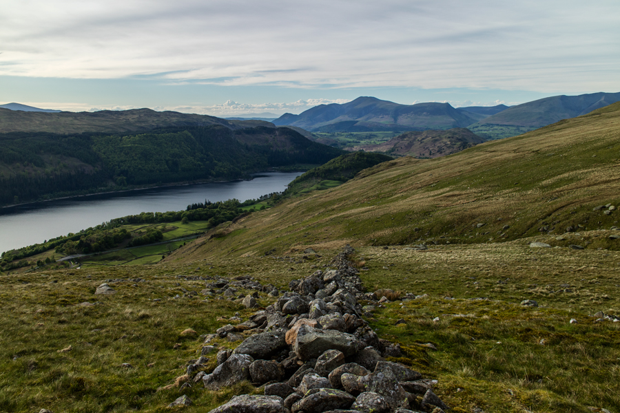 Looking back down on Thirlmere with the Skiddaw fells in the distance