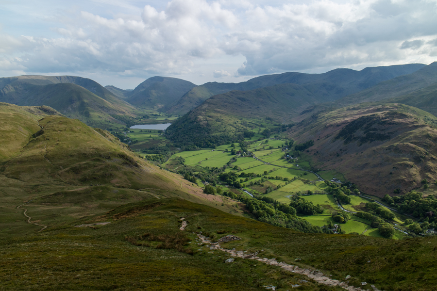 The view south with Brothers Water and Red Screes in the distance