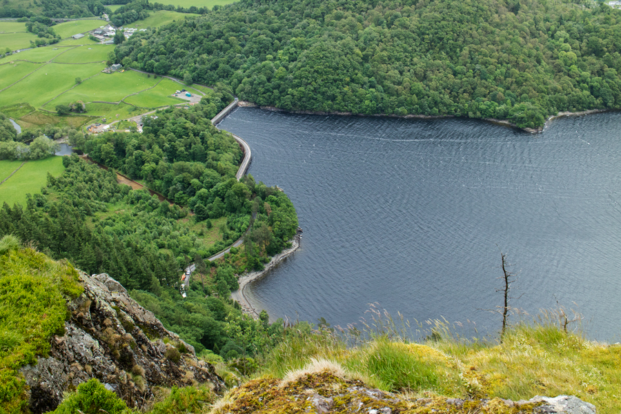 Looking down on Thirlmere dam