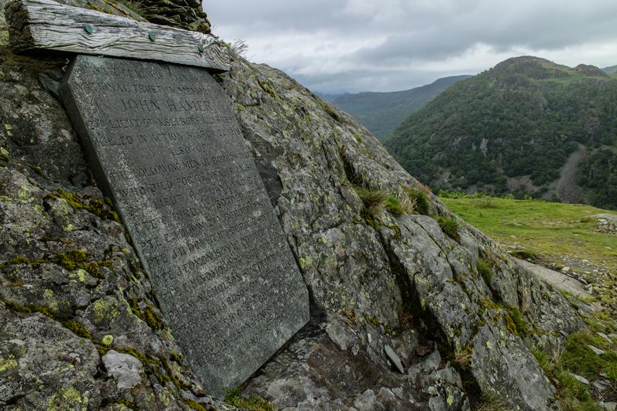John Hamer memorial plaque, Castle Crag summit
