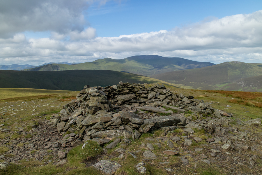 Looking across to the Skiddaw fells from Bowscale Fell's summit shelter