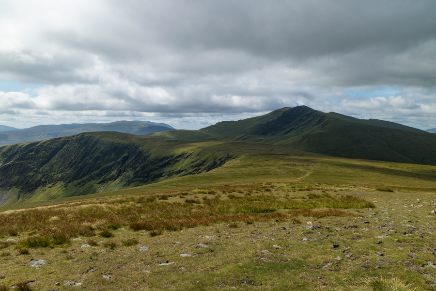 Bannerdale Crags on the left, Blencathra ahead