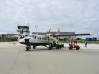 The Twin Otter at the Isle of Barra airport (16 Jun 2003)