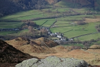 Looking down on Rosthwaite from Great Crag (9 Mar 2014)