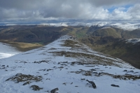 Looking back down on Gavel Pike, St Sunday Crag's subsidiary top (23 Mar 2014)