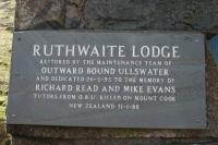 Ruthwaite Lodge plaque (23 Mar 2014)