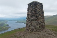 The obelisk on Hallin Fell's summit, recently rebuilt (4 May 2014)