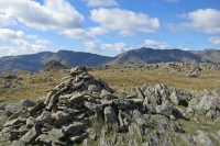 Crinke Crags with Pike O'Stickle in front (left) and Bowfell (right) from Thunacar Knott summit cairn (7 Sep 2014)