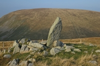 Boundary Stone at Adam Seat's summit, H for Harrison, the landowner in Longsleddale parish (21 Sep 2014)