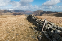 The wooden post that marks Hartsop Dodd's summit (11 Apr 2015)